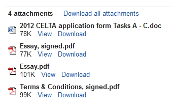 Completed CELTA tasks