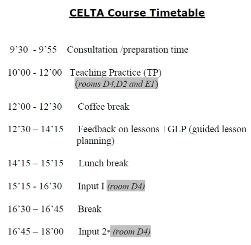 CELTA course timetable